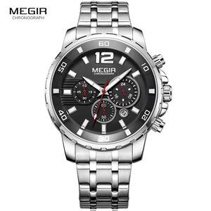 Image 5 - Megir 남성용 크로노 그래프 쿼츠 시계 남성용 스테인레스 스틸 아날로그 손목 시계 24 시간 디스플레이 방수 루미 너스