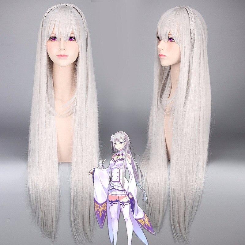 Life In A Different World From Zero Re:Zero Kara Hajimeru Isekai Seikatsu Emilia Long Cosplay Wig + Wig Cap