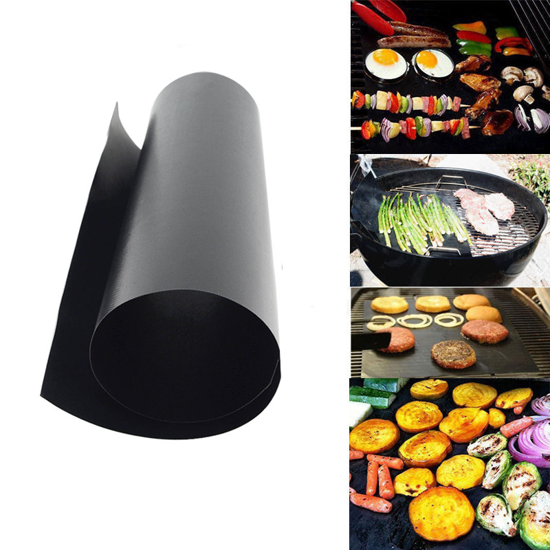 1Pc Black Reusable No Stick BBQ Grill Mat Sheet Hot Plate Portable Easy Clean Outdoor Picnic