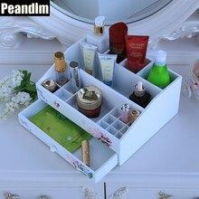 PEANDIM Home Decor Макияж Коробка Цветочные Принты Древесины Косметический Организатор Гостиной Коробка Для Хранения