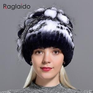 Image 2 - נשים ארנב פרווה כובע חורף חם אופנה ליידי כפת כובע שועל פרווה כובעים בעבודת יד סרוג כובע כובעי gorro כובעי LQ11143