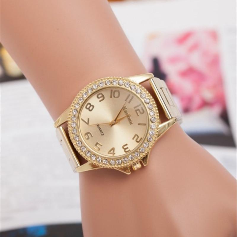 Fashion Simple Style Ladies Watches Diamond Decor Quartz Dress Wristwatch Stainless Steel Band Luxury Gold Watch Horloge Dames