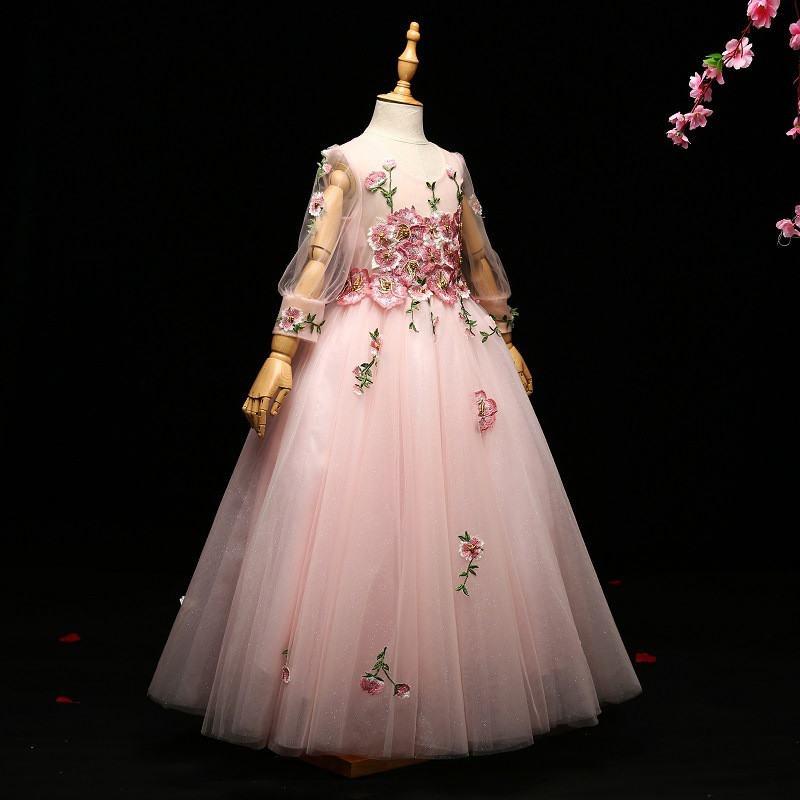 kids Girls Wedding Prom Party Event Gown Children Appliques Beads Princess Dress Teenage Girls Graduation Ceremony Vestido Q153