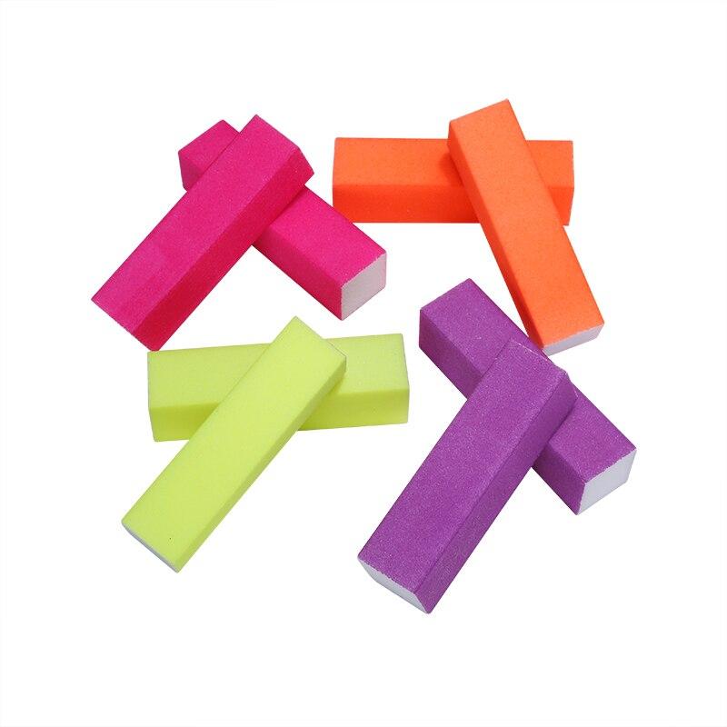 6 Pcs/lot Nail File Fluorescent Color Buffing Sanding Buffer Block Files Manicur