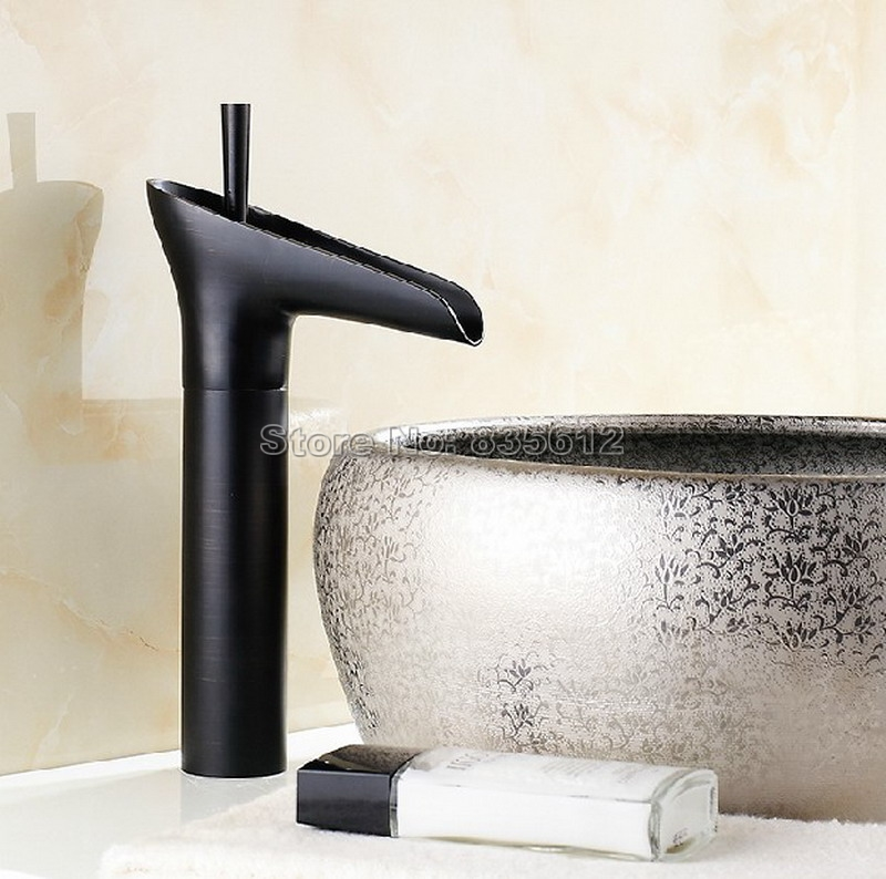 Black Oil Rubbed Brass Deck Mounted NEW Waterfall Style Bathroom Basin Sink Faucet Single Handle Vessel Sink Mixer Taps Whg036