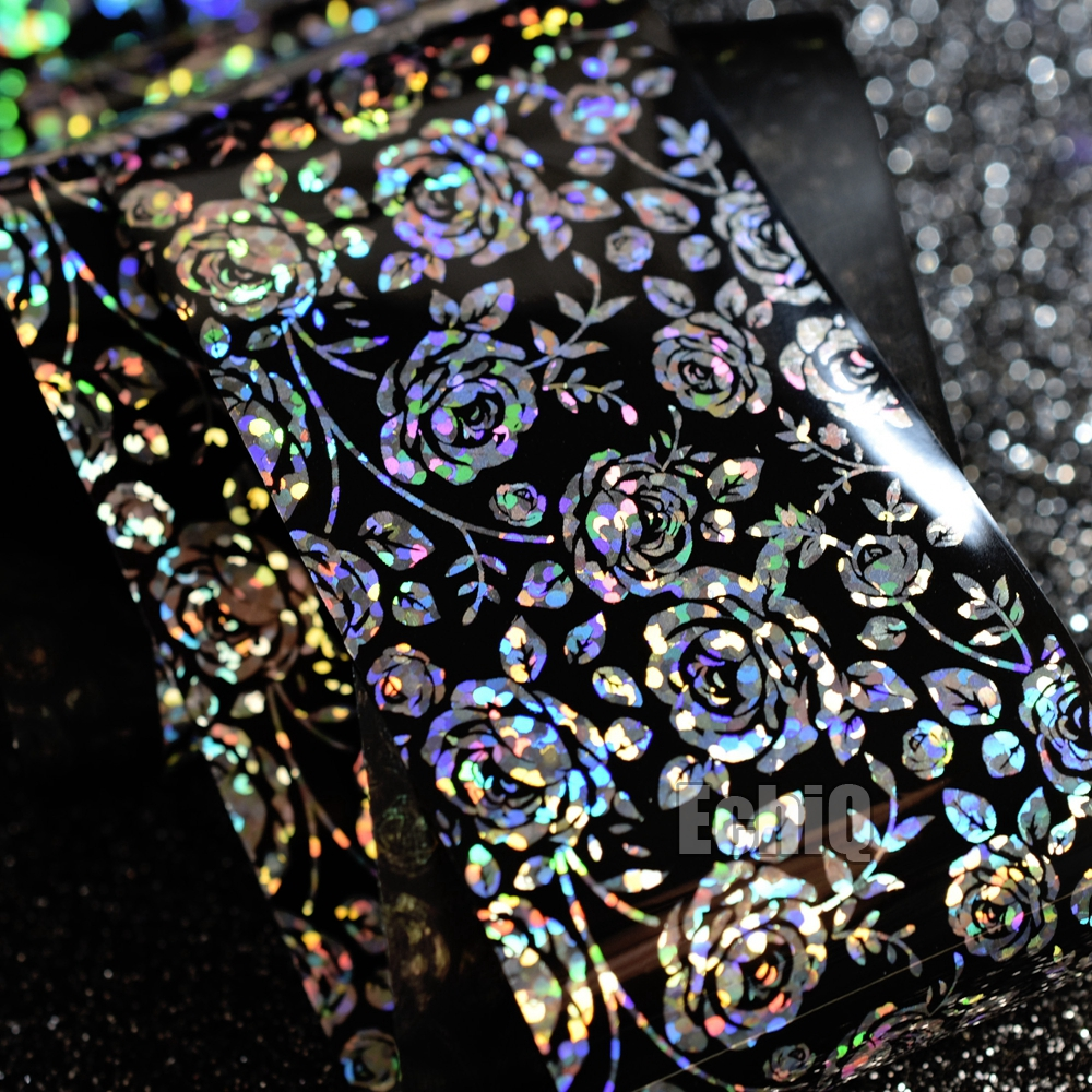 4cm*100m Laser Silver Rose Flower Design Nail Art Sticker Holographic DIY Wrapped Transfer Nail Foil Decals for Tips Decor GL686 hot sale 20 sheets lot 20 4cm nail art transfer foil floral serial sexy black lace pattern nail sticker foil material diy wy188
