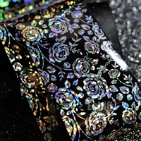 4cm*100m Laser Silver Rose Flower Design Nail Art Sticker Holographic DIY Wrapped Transfer Nail Foil Decals for Tips Decor GL686