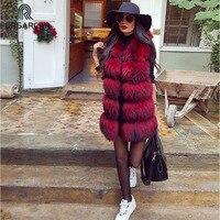 FURSARCAR Real Fur Vest Women Natural Reccoon Fur Jacket For Female Winter Thick & Autumn Fashion Luxury Real Fur Gilet Coat
