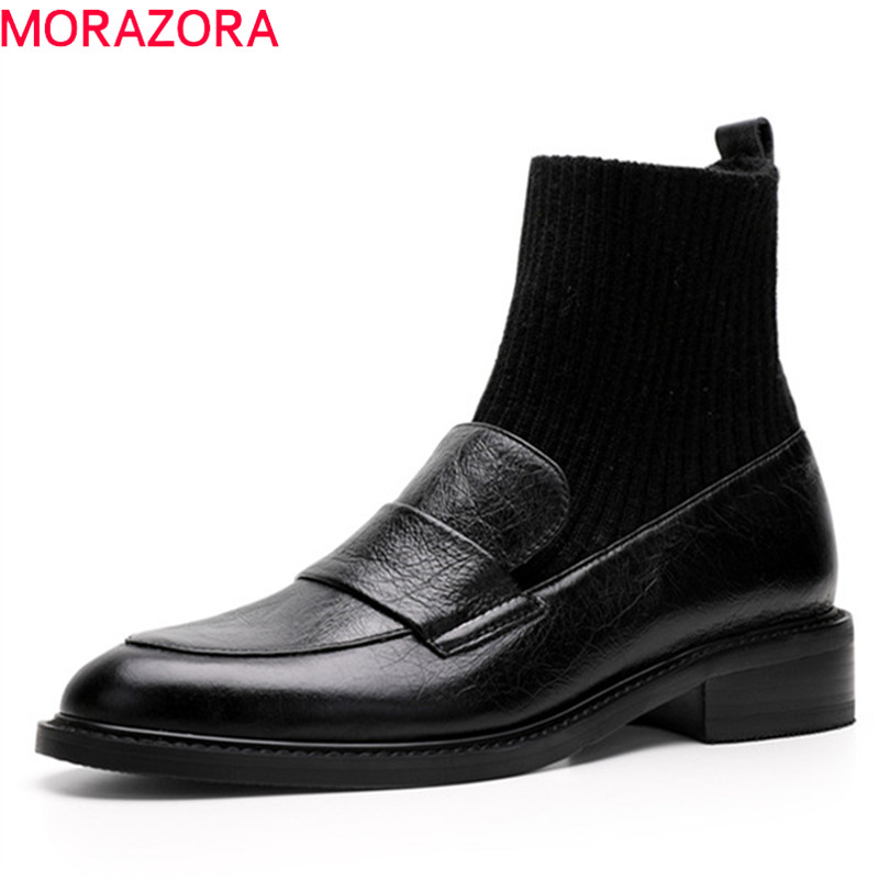 MORAZORA 2020 top quality genuine leather ankle boots for women round toe autumn winter Stretch socks