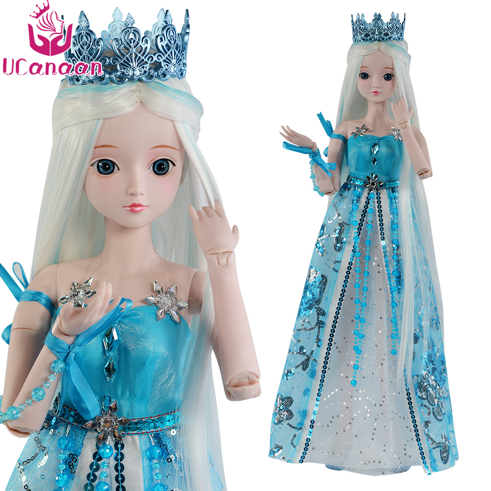 Ucanaan 1/3 Large BJD/SD Doll Ice Princess High Quality Body Joints Moveable Advanced Cosplay Doll Offer Make Up And Clothes ucanaan 1 3 large bjd sd doll fashion make up the first princess doll offer dress wig clothes shoes toys for girl