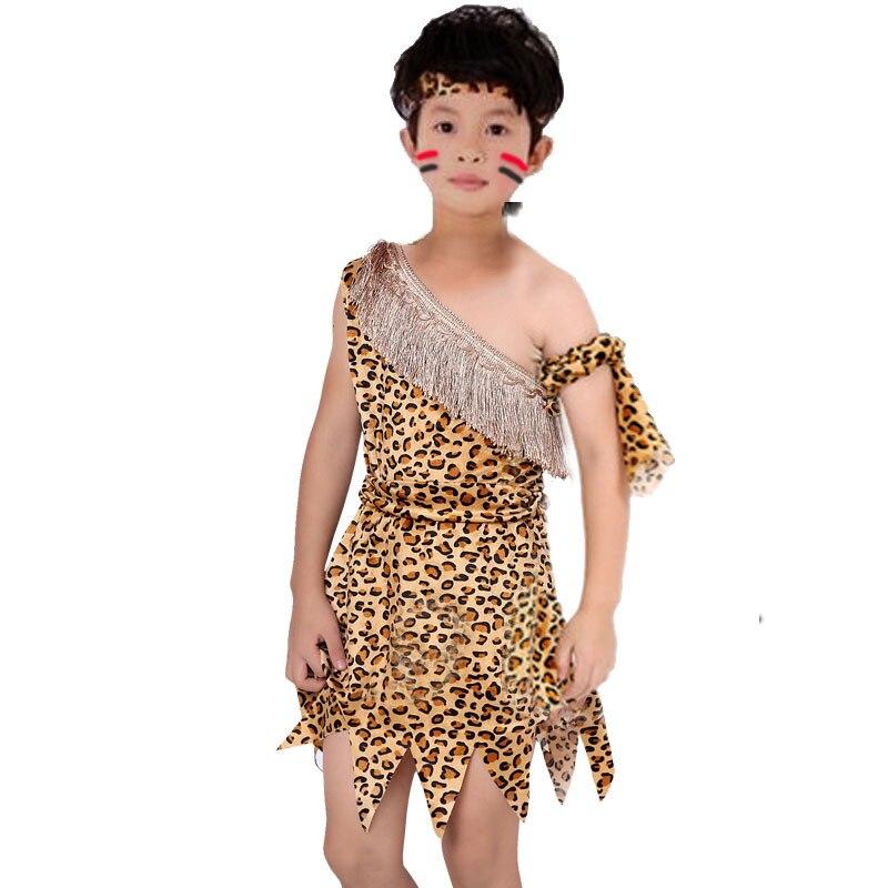 Motiviert Kinder Junge Savage Caveman Kostüme Jungen Leopard Afrikanische Tribal Hunter Kleidung Für Mädchen Leistung Kostüme Cosplay Kleid