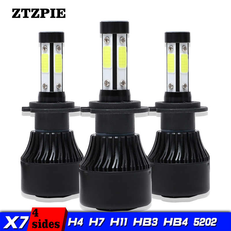 ZTZPIE 8000LM 72W 9012 H16 9005 H8 Turbo LED headlights Car Highlights with 4 Sides LED Lights 360 H4 H7 H11 Front Headlight