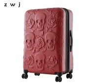Дорожный чемодан с изображением черепа, классный чемодан с изображением черепа, чемодан, Модный цветочный женский чемодан, мужская дорожна