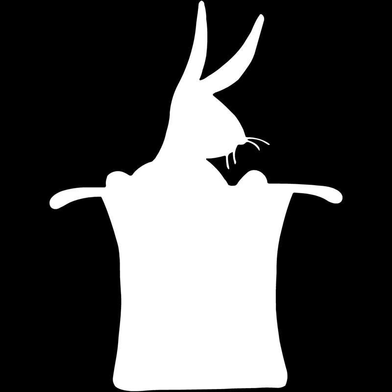 9 9cm13 2cm rabbit hat magic magician decal interesting car styling car sticker black silver s6 3494 in car stickers from automobiles motorcycles on