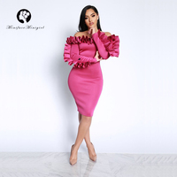 Women Long Sleeve Pencil Dress Empire Slim 2018 Spring New Slash Neck Party Vestido Sex Solid Ruffles Elegant Bodycon Dresses