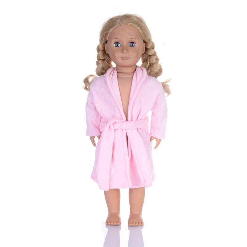 人形の服フィット 18 インチの女の子の人形高品質ピンクロングナイトローブベルト冬のナイトガウンと赤ソックスブリーフ