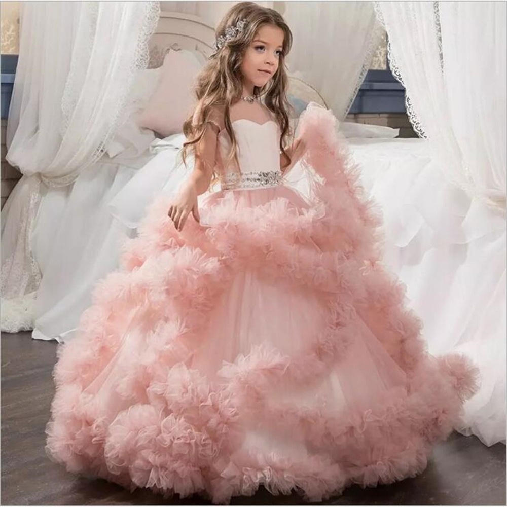 Princess Flower Lace Tutu Girl Dress Wedding Evening Mopping Long Fluffy Elegant Party New Costume Kids Dress Girl WGX-13598