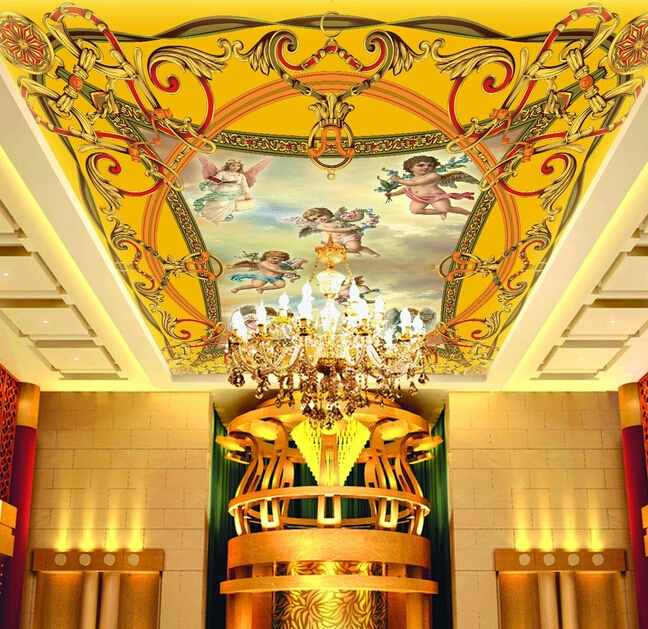 Custom ceiling murals wallpaper , angel murals for the living room bedroom ceiling wall waterproof PVC papel de parede custom ceiling murals wallpaper virgin maria and angel for the living room bedroom wall waterproof pvc papel de parede