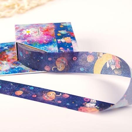15mm X 5 m lindo gato planeta decorativo Washi cinta DIY Scrapbooking cinta adhesiva escuela Oficina suministro