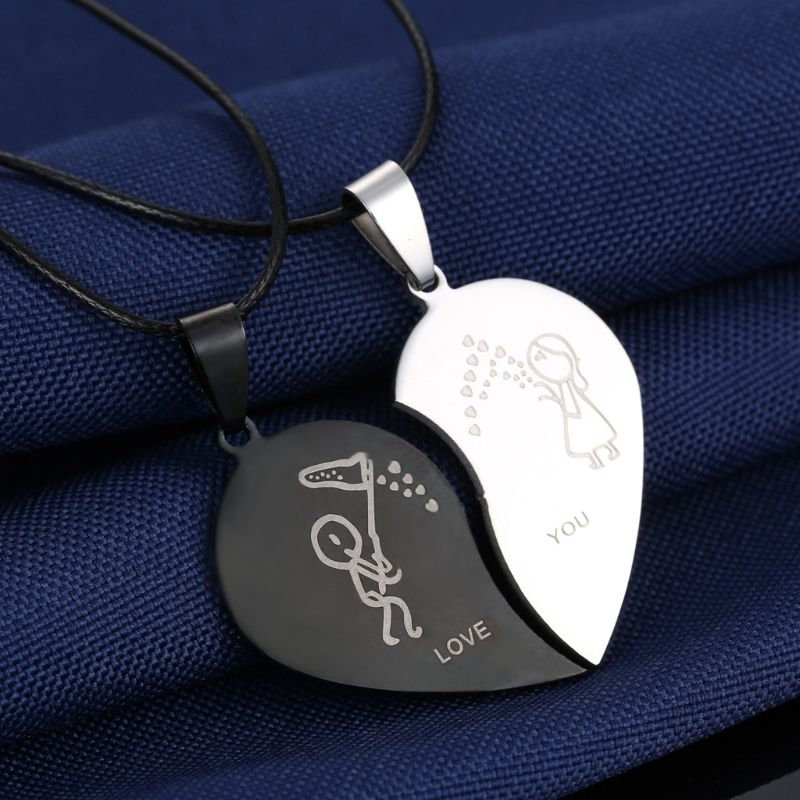 Couples Jewelry Broken Heart Engrave Love You Pendant Necklaces Valentine 39 s Day in Pendant Necklaces from Jewelry amp Accessories