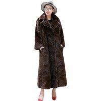 S 6XL новые зимние женские меховые пальто с имитацией длинная норка искусственная меховая шуба меховое пальто женская зимняя одежда Тренч