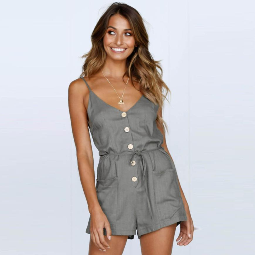 Sexy V-Neck Women Beach Sleeveless Cotton rompers womens jumpsuit Ladies Summer Party Short pant Mini Overalls for women #TH