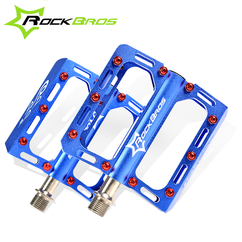 ROCKBROS Bike MTB Pedals Magnesium Alloy Titanium Spindle Platform Pedals Cycle Bicycle Cycling 9/16 Sealed Pedales, 5 Colors rockbros titanium ti mtb road bike bicycle pedals pedal spindle wellgo mg1 mg 1 mg 1