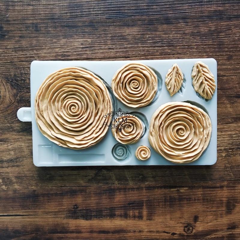 New rose cake mold Chocolate fruit ice dough silicone fondant tool DIY soft  candy making mold Ruffled Roses Mould