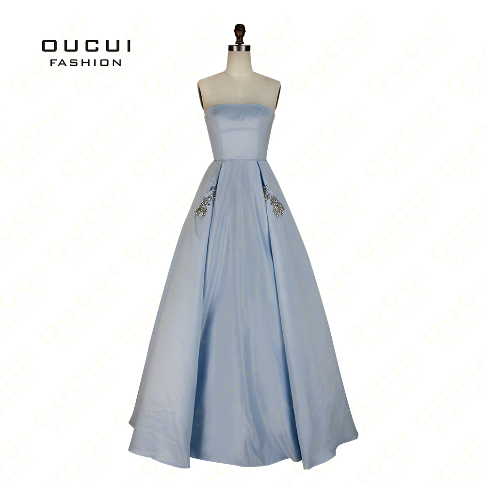 Real Photos Prom Dress Strapless Ball Gown Crystal Side Pockets Long ...