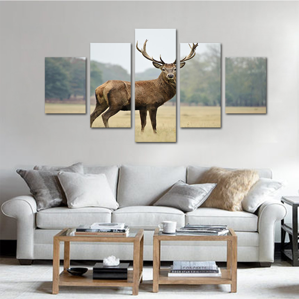 Unframed HD Print 5 Canvas Art Paintings Elk Canvas Module Mural Living Room Decoration Picture Unframed Free Shipping