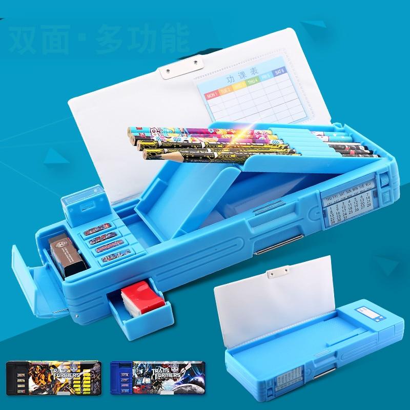 School stationery pencil box plastic multifunctional pen box grille