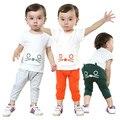 Мода Корейский hello kitty 100% хлопок Летом 1 компл. комплект одежды 7-24 Месяцев одежда для новорожденных девочек/мальчиков наборы
