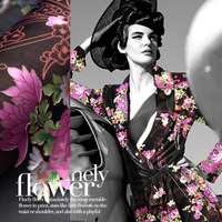Exquisite peony Black Satin yarn streamer pink peony lustrine classical dress fabric cloth.