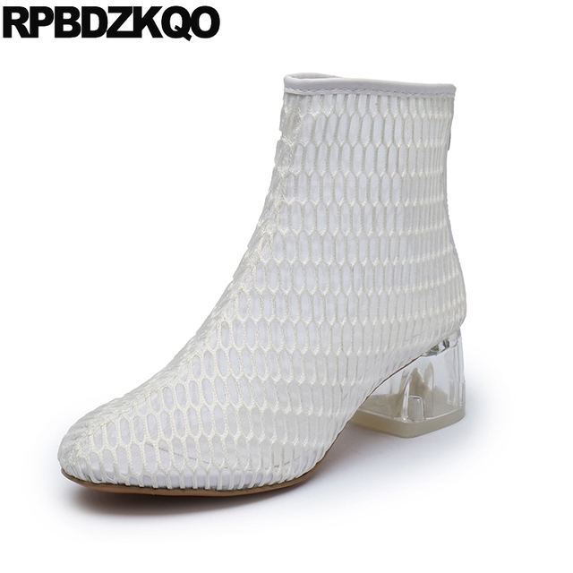 a8b26436bac US $55.05 36% OFF Clear Women Ankle Boots 2016 Round Toe White Cut Out  Brand Booties Chunky High Heel Summer Mesh Shoes Transparent Size 4 2017-in  ...