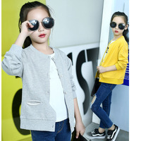 Knitted School Autumn Jacket For Girls Red Yellow Grey Little Big Girl Jackets Girls Outerwear Coats