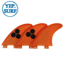 Surfboard Fibreglass Fin FCS G3 Honeycomb Surf Quilhas Orange 3 colors black logo