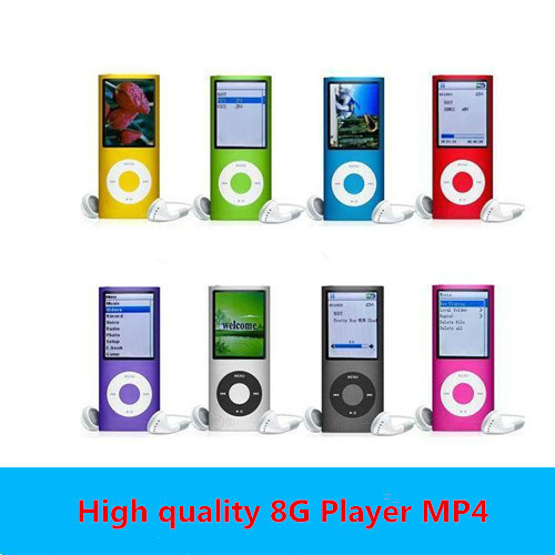 Music playing time 30Hours Slim 1.8' 4th gen 8GB 9 Colors mp3 player music player fm radio ebook video player free shipping