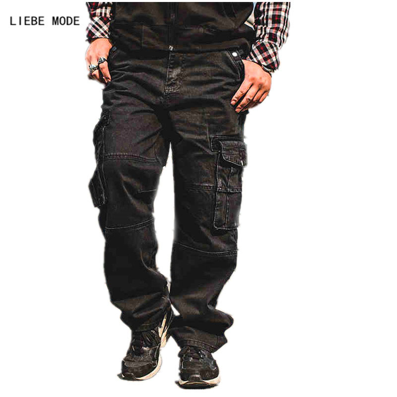Japan Style Plus Size Mens Denim Cargo Pants Jeans Men
