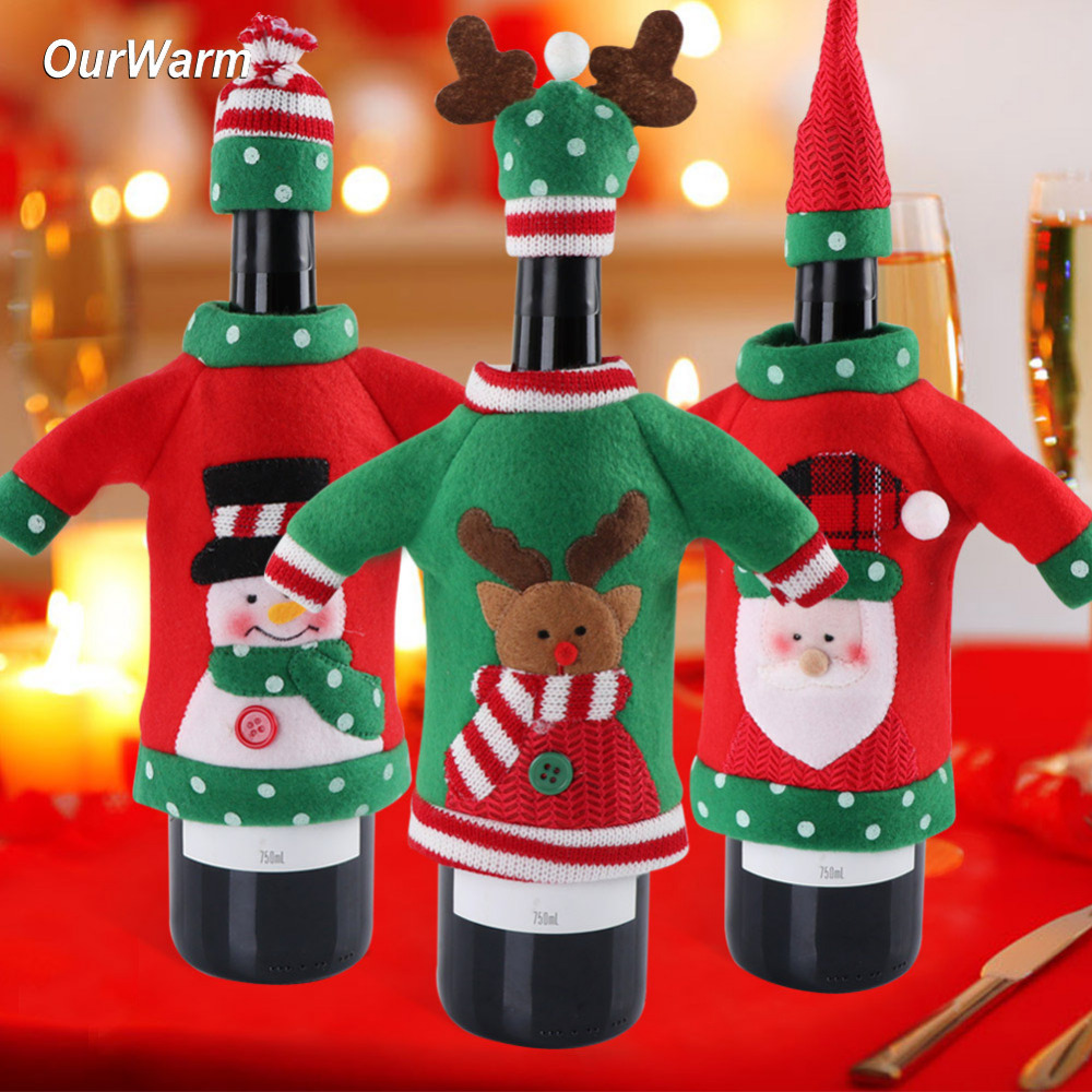 Ourwarm Christmas Party Red Wine Bottle Sweater Snowman Santa Reindeer Cover Gifts Christmas Ornament New Year Table Decoration