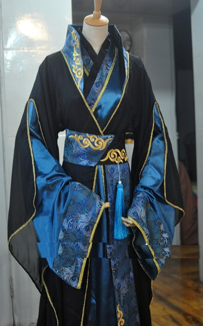 1628 New Black Blue Men's Costume Cosplay Hanfu For Childe Or Scholars Male Costume