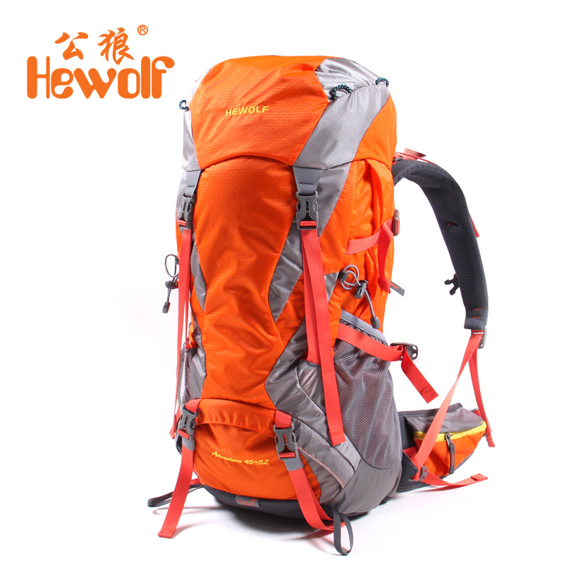 Hewolf Climbing Bag Hewolf Outdoor 45L+5L Hiking Backpack Daypack Outdoor Sport Trekking Camping Fishing Travel  Rain Cover wissblue professional climbing backpack camping outdoor backpack cr carrying system hiking gear trekking travel sport backpack