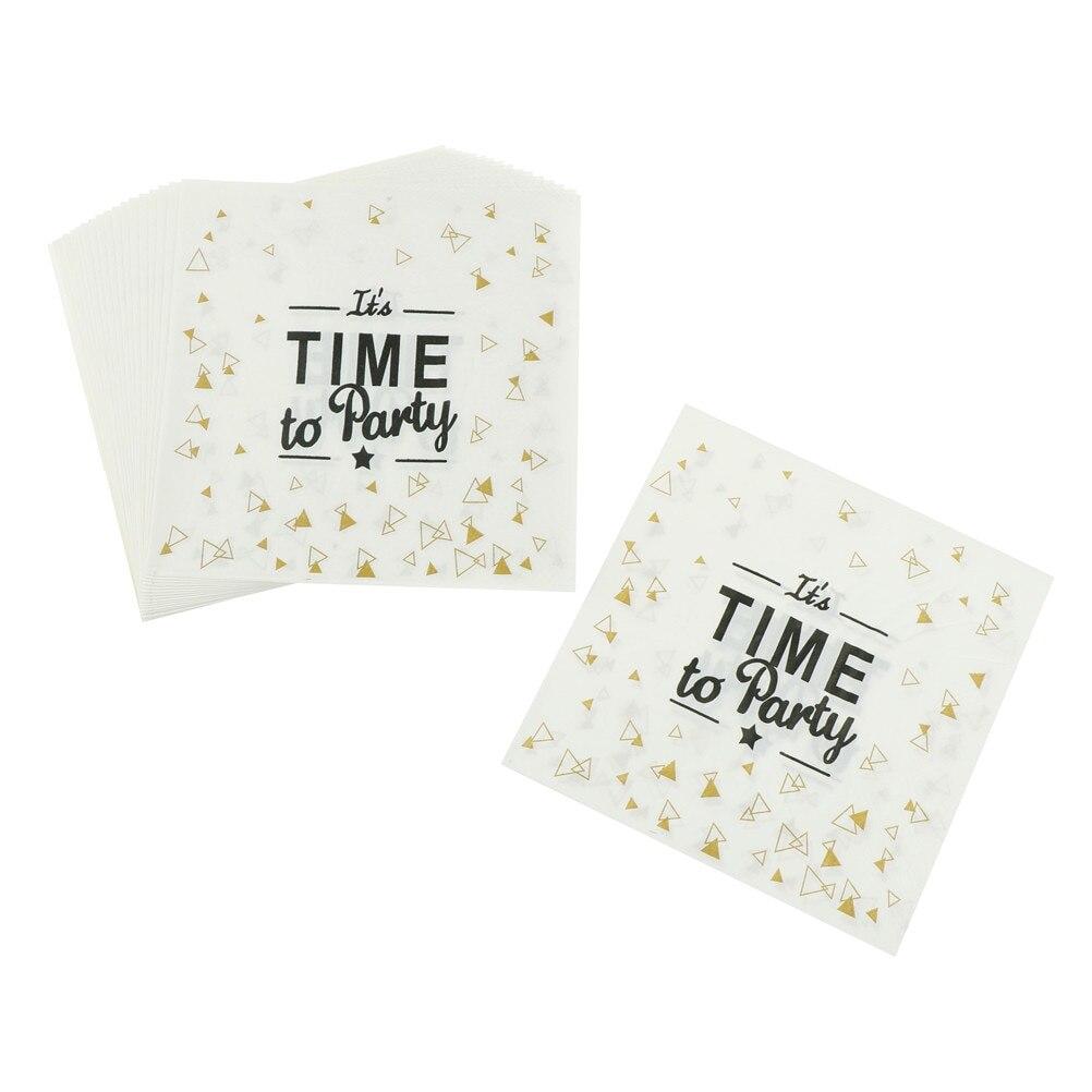 20 Pcs/set Time To Party Letter Printing Napkin Paper Wedding Decoration Plate Napkin Paper Serviettes Tea Time Party Supplies
