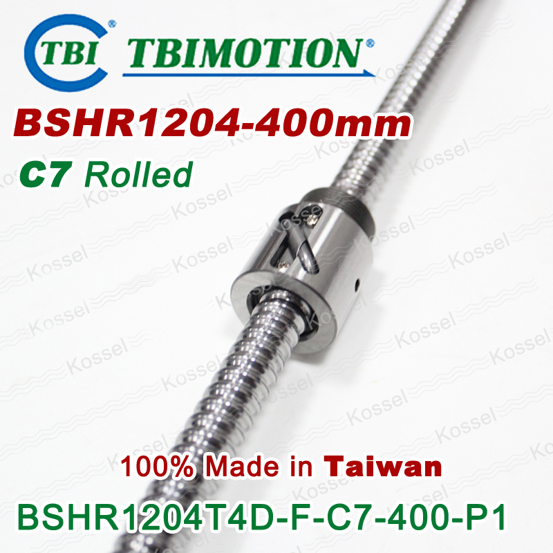TBI Ball screw 1204 C7 400mm with 4mm Lead Without Flange Ballnut BSH1204 for CNC kit tbi ball screw 2005 c7 1000mm with 5mm lead without flange ballnut bsh2005 for cnc kit backlash
