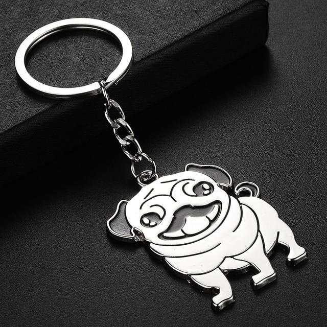 TAFREE Cute Pug Dog Key Chain Animal Keyring Holder Stainless steel Metal Pendant Gift Bag Black Pug Jewelry SS69