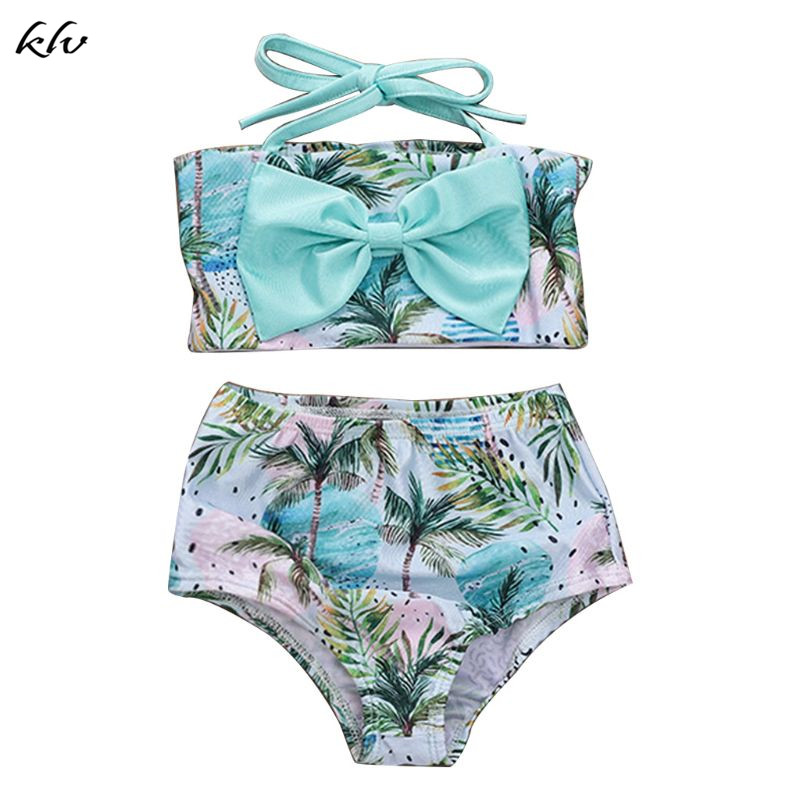 2 Pcs/Set Children Kids Cute Swimsuit Coconut Wave Printing Girls Sling Split Type Swimsuits Seaside Swimming Pool Clothes Suit