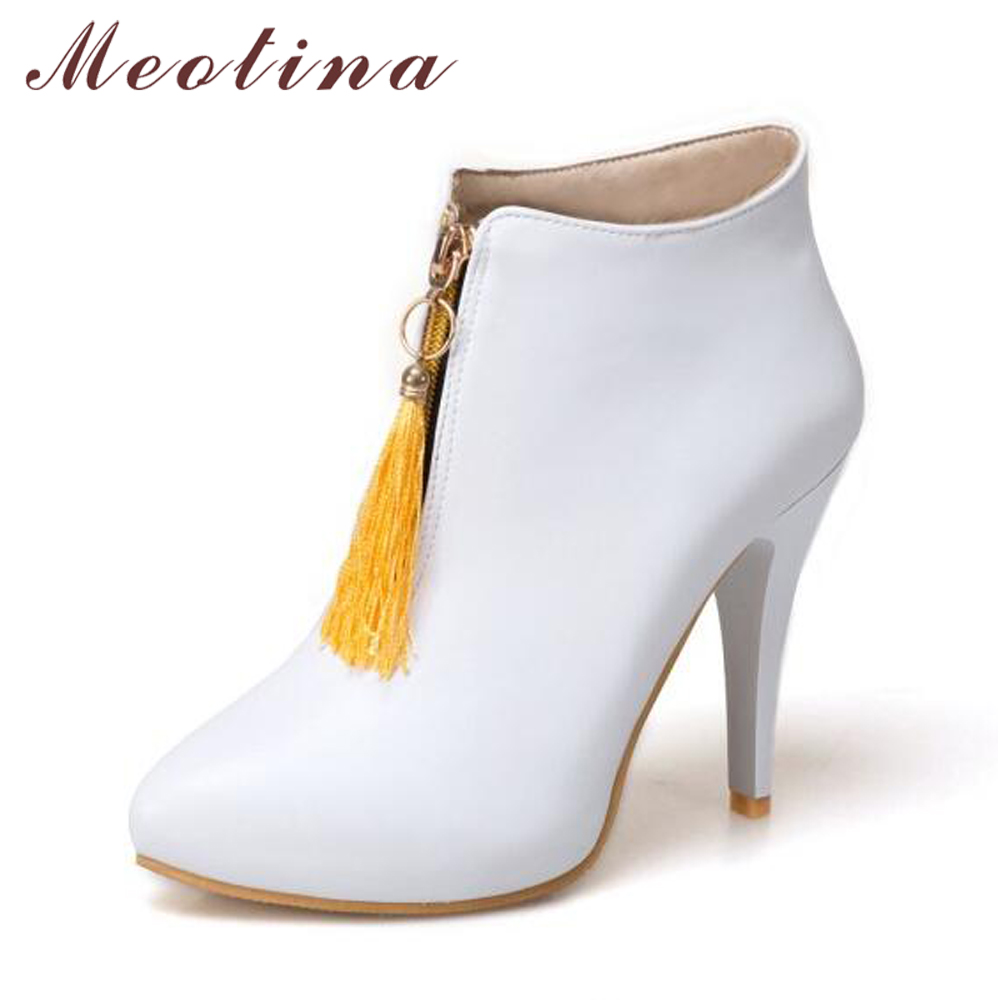 23c32e287d US $21.68 50% OFF|Meotina Women Ankle Boots Platform High Heels Fringe  Boots Spring Pointed Toe Sexy Shoes 2018 Female Boot Big Size 46 Yellow -in  ...