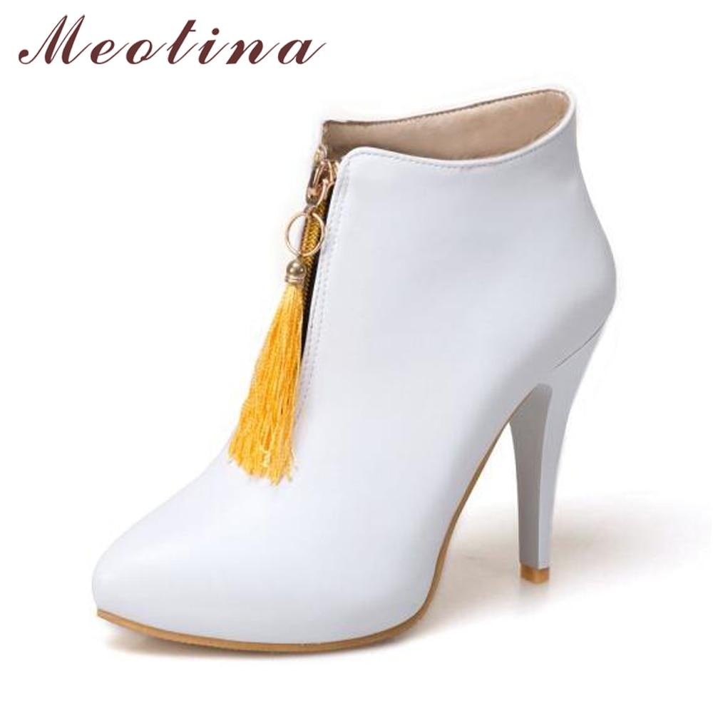 Meotina Wanita Ankle Boots Platform Sepatu Hak Tinggi Pinggiran Musim Semi Menunjuk Sepatu Seksi 2018 Perempuan Boot Ukuran Besar 46 Kuning