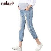 Fdfkalk Mavi Denim Annelik Kot Artı Boyutu Elastik Bel Uzun pantolon Pantolon Hamile Kadınlar Için Hamile Pantolon XL 2XL 3XL F58