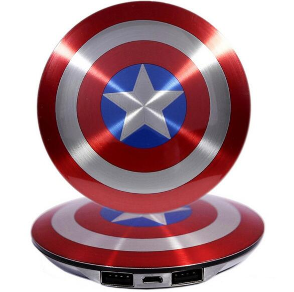 Avengers Captain America Shield Power Bank Charger USB 6800mAh for all mobile phone with Package ethernet cable