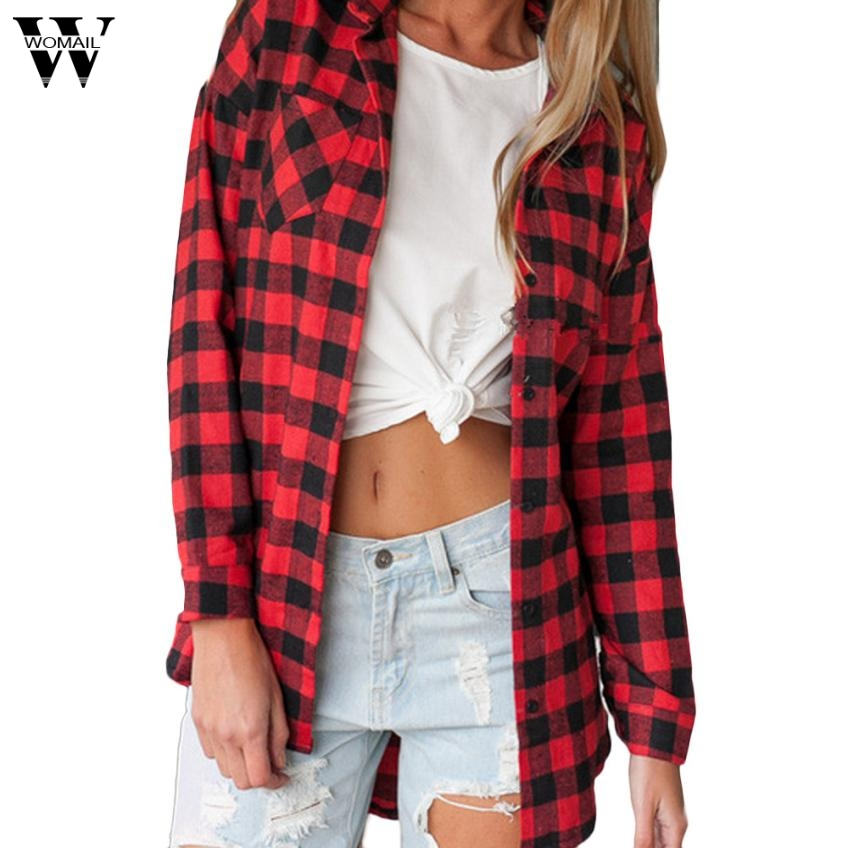 Womail Tunic Red Plaid Print Long Blouse Feminine Shirt Casual Blouse Women Tops And Blouses 2018 L30720 Good For Energy And The Spleen Blouses & Shirts